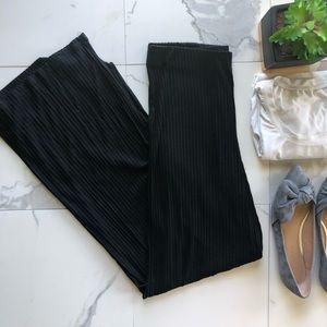 Zara Trafaluc Black Striped Wide Leg Pants